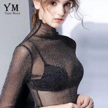 YuooMuoo Sexy Transparent Mesh T Shirt High Quality Women Turtleneck Tops Plus Size Long Sleeve Sheer Slim Ladies Sequin Top