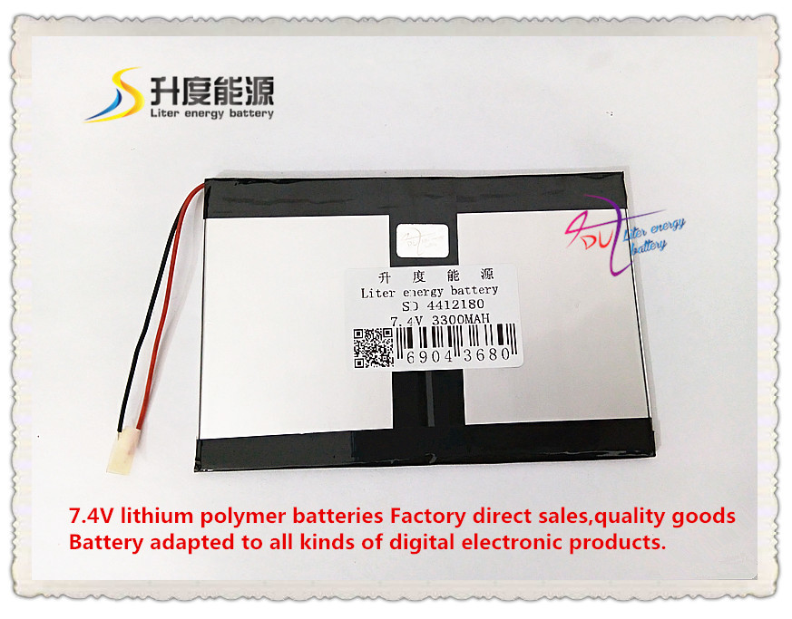US $12 13 6% OFF|7 4V 3300mAH 4412180 Polymer lithium ion / Li ion battery  for tablet pc GPS mp4 MP3 cell phone speaker-in Tablet Batteries & Backup
