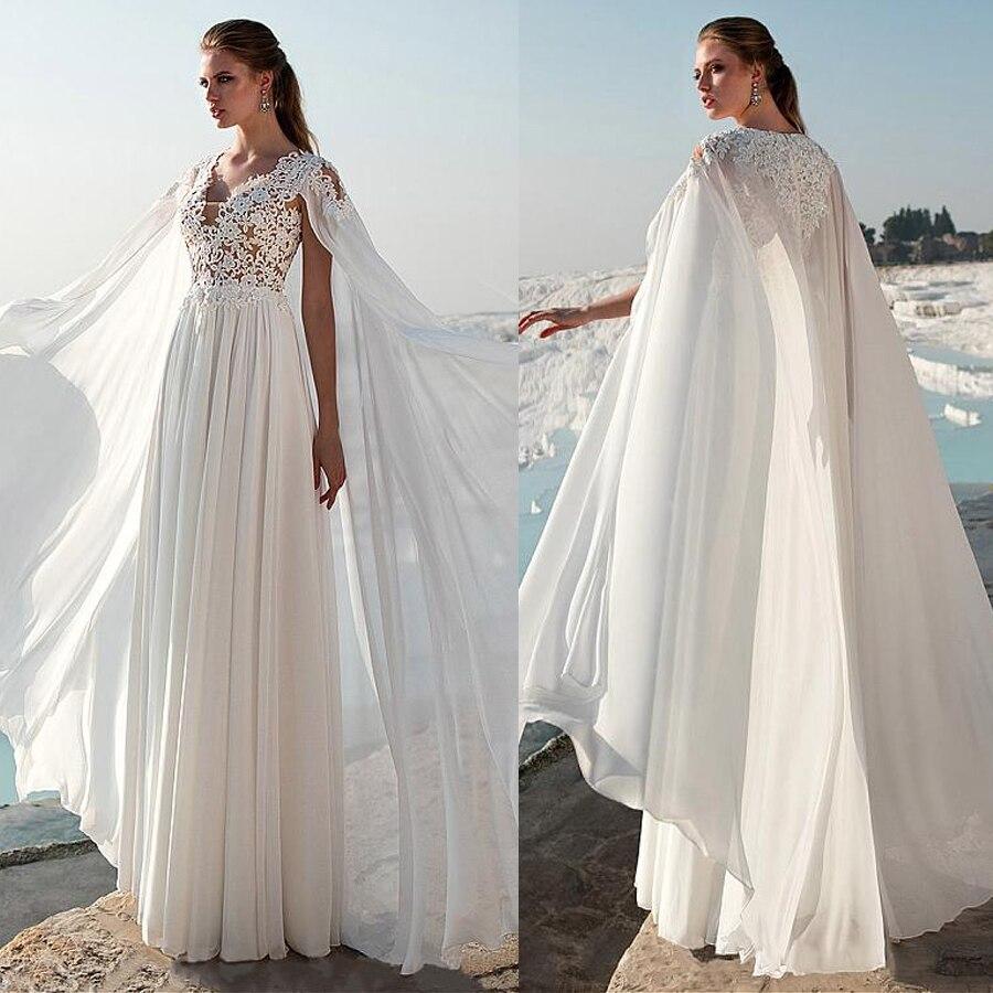 078c8a28f Vestido de novia de Chifón con cuello en V Línea A con apliques de encaje  de cuentas vestido de novia con capa vestido de formatura