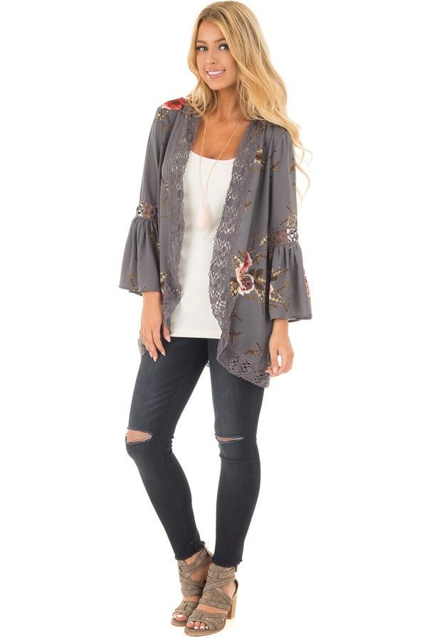 HTB15M8ek8nTBKNjSZPfq6zf1XXaE Women Plus Size Loose Casual Basic Jackets Female 2018 Autumn Long Flare Sleeve Floral Print Outwear Coat Open Stitch Clothing