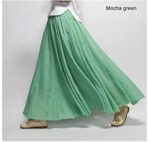 Image 2 - Womens Elegant High Waist Linen Maxi Skirt 2020 Summer Ladies Casual Elastic Waist 2 Layers Skirts saia feminina 20 Colors SK53