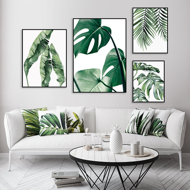 Tropical Palm Banana Leaf Canvas Painting Green Plant