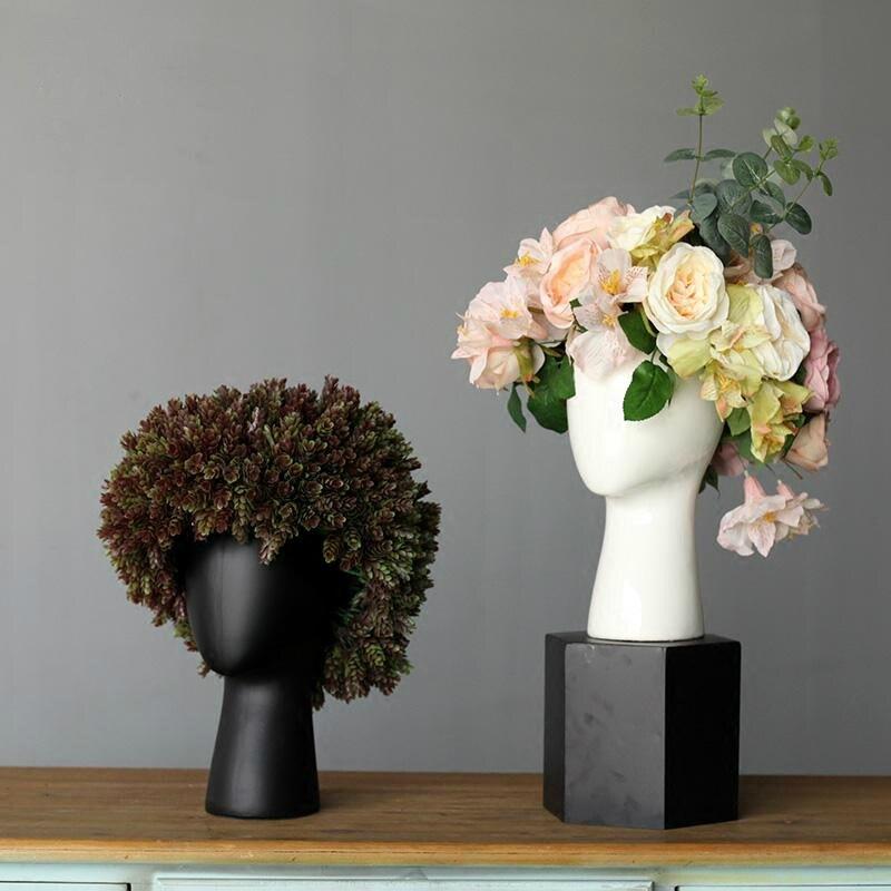 Fashion White Black Vase Ceramic Creative Scandinavian Design House Wedding Decoration Porcelain Head Shape