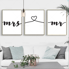 Nordic Mr Mrs Love Prints on Canvas Poster Black and White Wall Art Canvas Painting Wall Picture Modern Home Decoration No Frame все цены