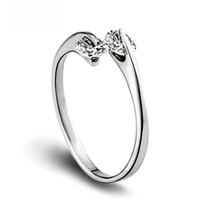 suti OL Style Adjustable Twin CZ Cubic Zirconia Ring Silver Plated Tone Engagement / Wedding Crystal Rings For Women