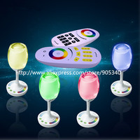 NEW Novelty RGB W Wine Cup Light 2W With 2 4Gremote Build In Battery Romantic Led