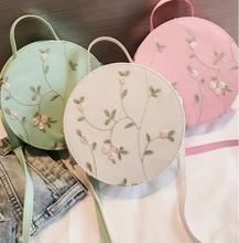 2018 New Summer Women Messenger Bags High Quality PU Round Embroidery Floral Shoulder Circle Bohemia Handbags.