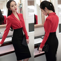 2017 Autumn Womens Dress Red Patchwor Work Wear Elegant V Neck Dresses Business Casual Pencil Bodycon