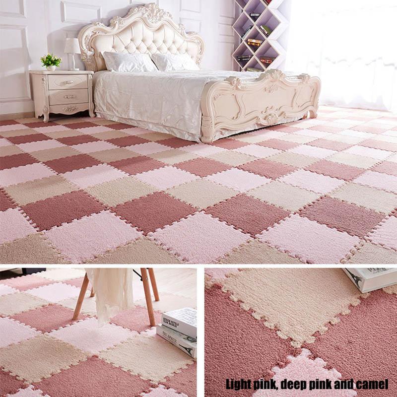 HTB15M9Xw8nTBKNjSZPfq6zf1XXaE 10Pcs/1Set 30*30*1cm EVA Plush Puzzle play mats Foam Shaggy Velvet Carpet Decorative Kids Room for Crawling Play Toys 9-Colors