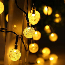 5M 10M Solar Lamp Crystal Ball LED String Lights Flash Waterproof Fairy Garland For Outdoor Garden Christmas Wedding Decoration