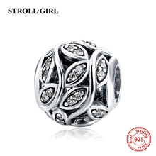 Hot sale Pave CZ Flower Charms Beads Authentic 925 Sterling Silver Fits charm pandora bracelets Beads For Jewelry Making Gifts(China)