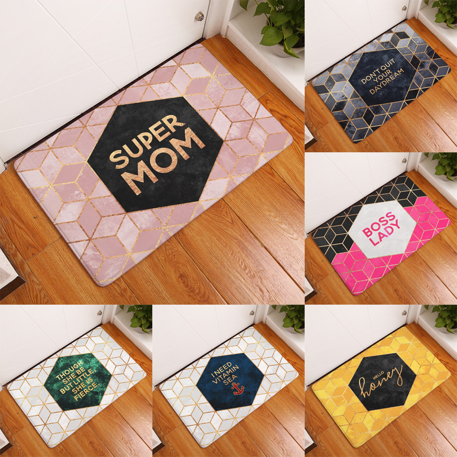 Funny bathroom rugs - Homing Welcome Home Door Floor Hallway Carpets Colored Funny Letters Geometric Hive Diomand Pattern Flannel Mats Home Decor Rugs