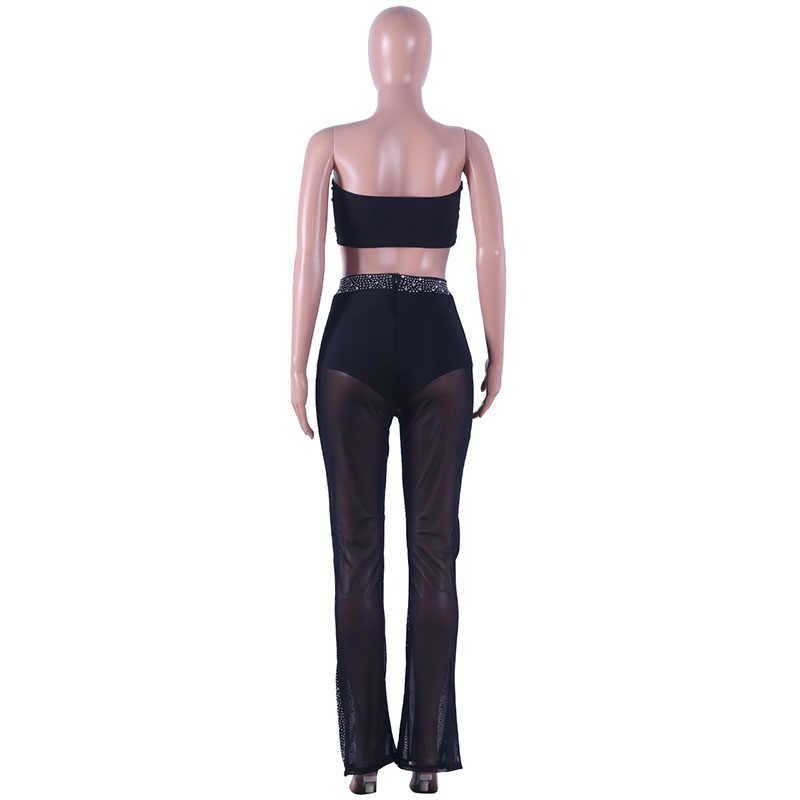 Kricesseen/сексуальный комплект из двух предметов с вышивкой и пайетками для женщин; Клубные наряды; Топ без бретелей и длинные брюки; костюмы; большие размеры