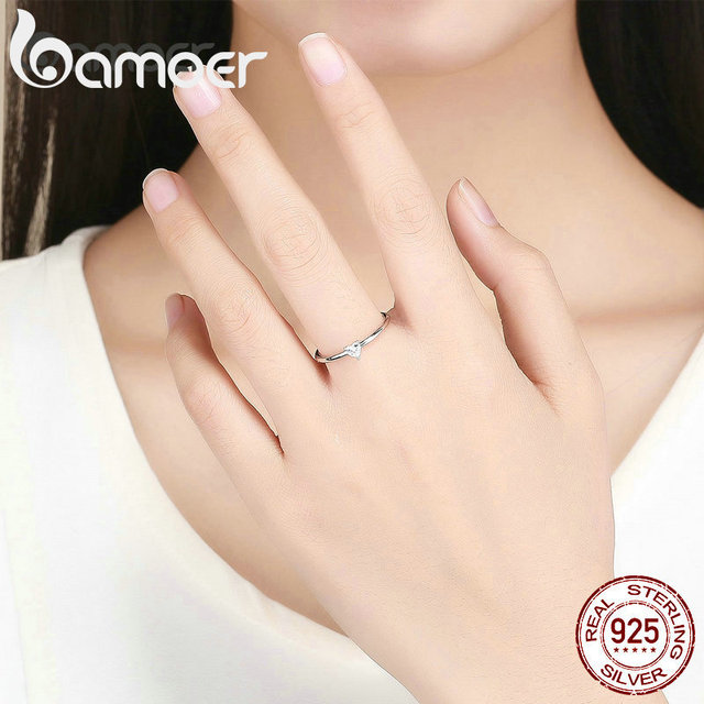 BAMOER HOT SALE 925 Sterling Silver Heart Clear CZ Simple Finger Rings for Women Engagement Wedding Statement Jewelry  SCR498 2