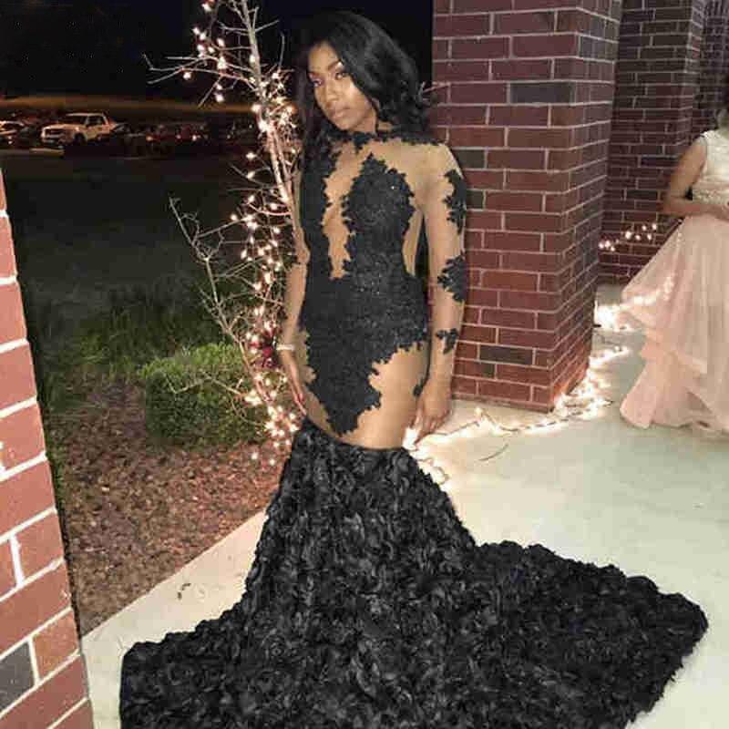 Offre spéciale noir sirène robes de bal à manches longues dentelle Appliques Rose fleur Train femmes africaines robe formelle robes de soirée