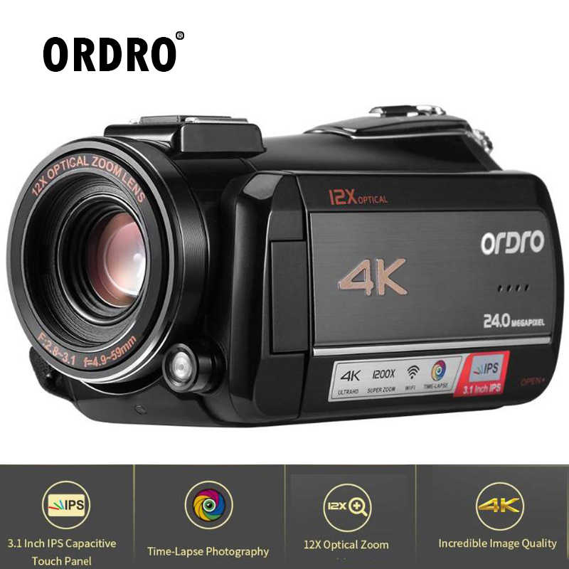 Ordro AC5 4K 12X Optical Zoom 24MP WiFi IPS Touch Screen Digital Camera+Lens Hood+Wide Angle Lens+Microphone+led Light+Handheld