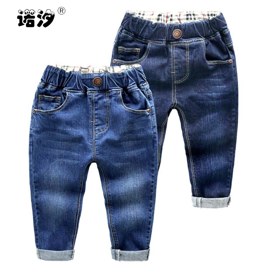 Jeans Children Pants Baby-Boys Kids Denim Trousers Blue Cotton Spring Outwear Elastic-Waist