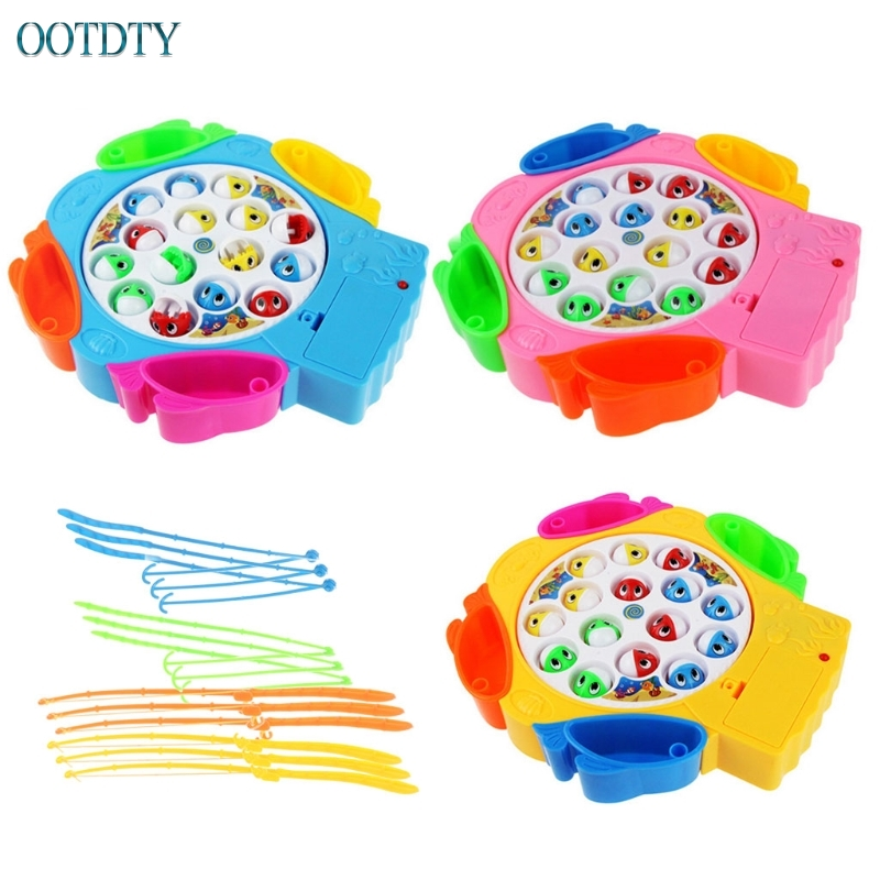 Funny Toys Kids Fishing Toys Children Educational Toys Musical Gifts Rotating Fishing Game #330