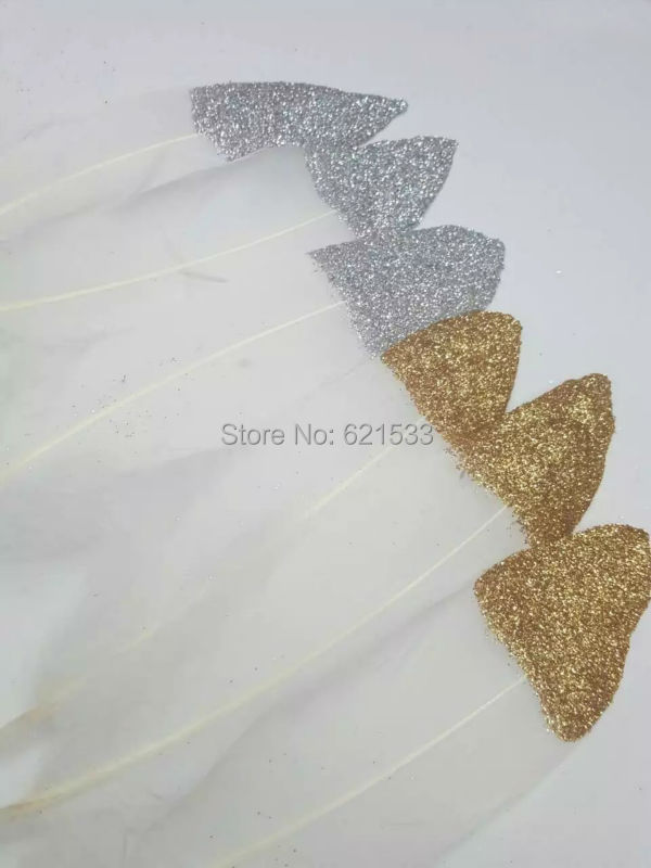 GOLD/Silver Dipped natural white Goose Satinettes feathers -Gold/Silver Painted with Glitter,100pcs/lot,10-18cm long
