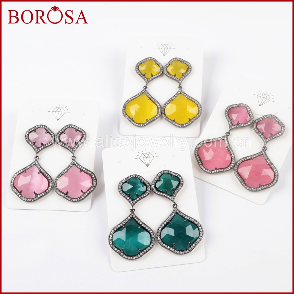 BOROSA 5Pairs CZ Micro Pave Crystal Manmade Cat Eye Faceted Black Earrings Drusy Dangle Earrings Gems Jewelry for Girls WX874