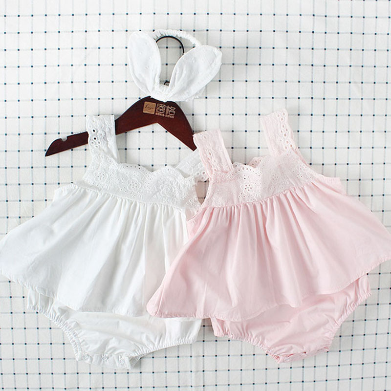 Baby Girl Ruffled Sleeveless Backless Romper Newborn Jumpsuit Outfit Summer Infant Cotton Dress Romper Embroidery Lace