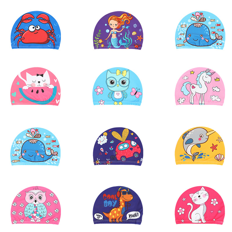 Elastic Fabric Cute Cartoon Printed Swimming Caps For Long Hair Lovely Kids Cartoon Protect Ears Swim Pool Hat For Boys Girls