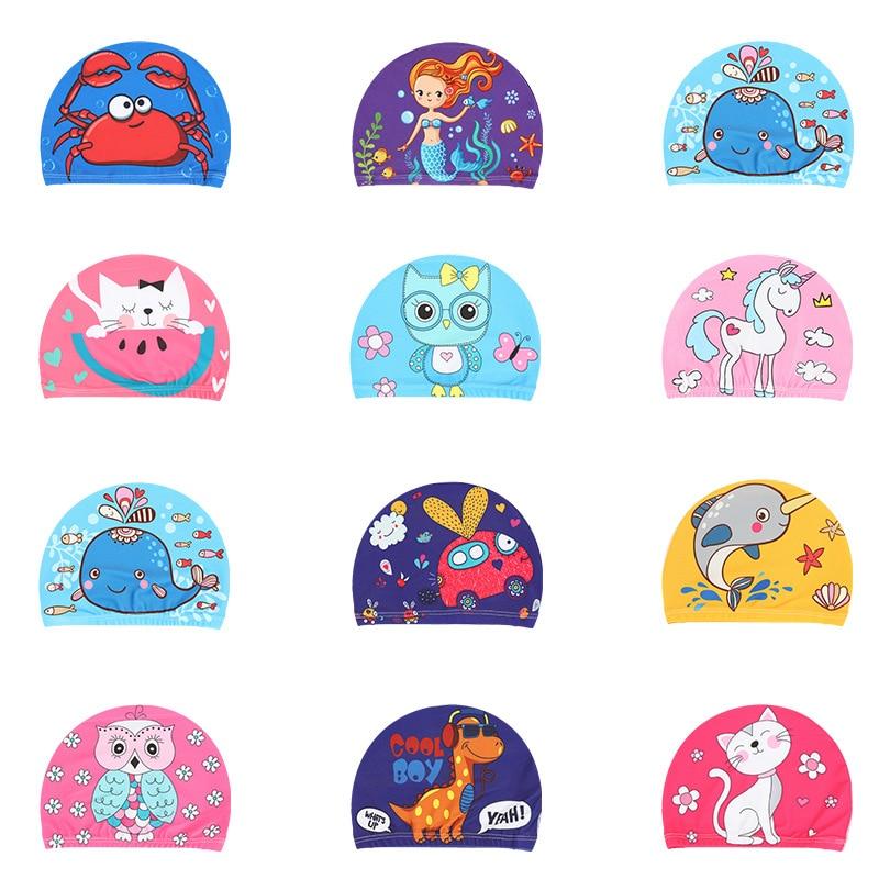 Elastic Fabric Cute Cartoon Printed Swimming Caps For Long Hair Lovely Kids Cartoon Protect Ears Swim Pool Hat For Boys Girls