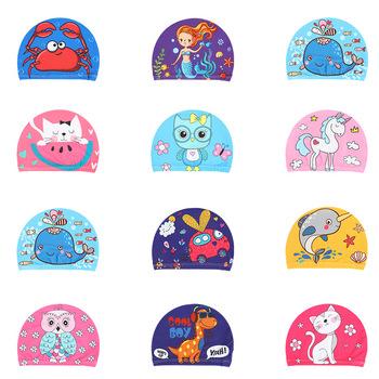 Elastyczna tkanina kreskówka drukowane czepki kąpielowe dla długich włosów piękne dzieci kreskówka chronić uszy basen kąpielowy kapelusz dla chłopców dziewcząt tanie i dobre opinie Cartoon pływanie cap NYLON