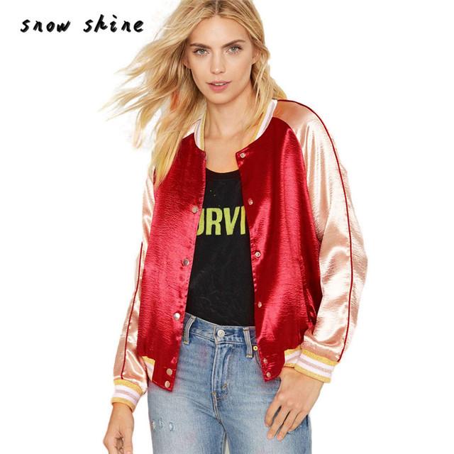 Snowshine #20 Raso Chaqueta Bomber Jacket Coat Otoño Invierno Calle Mujeres Chaquetas Ocasionales envío gratis