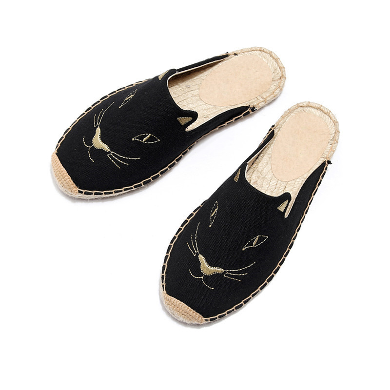 2019 Summer New Female Embroidery Cats Sippers Round Toe Lady Flat Espadrilles Slide Fisherman Shoes Slip On Women Beach Sandals (5)