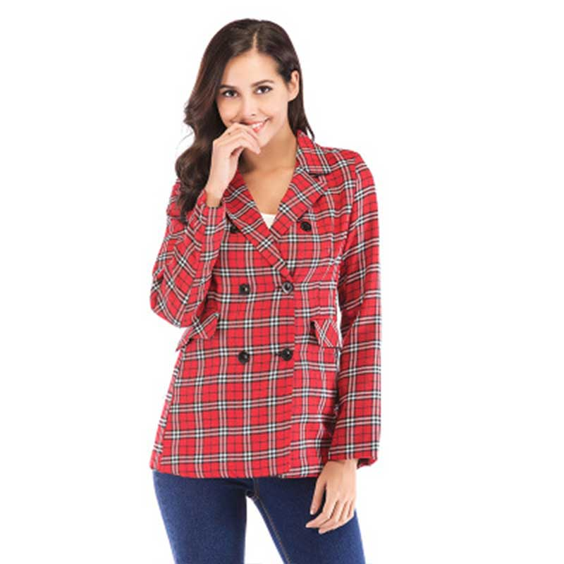 Vintage Notched Bouble Breasted Plaid Women Blazer Thicken Autumn Winter Jackets Female Retro Suits Coat 2018 Work high quality
