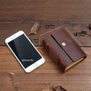Image 4 - Mini diário de bolso feito à mão, diário para caderno de couro para viagem, diário, sketchbook, presente de aniversário, escola criativa vintage
