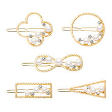 metal pearl hair clip women accessories rhinestone hairpins barettes