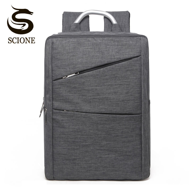Scione Double Zipper Canvas Backpack Men Business Backpacks Waterproof Laptop Rucksack Bag with Metal Handle School Mochila Bag