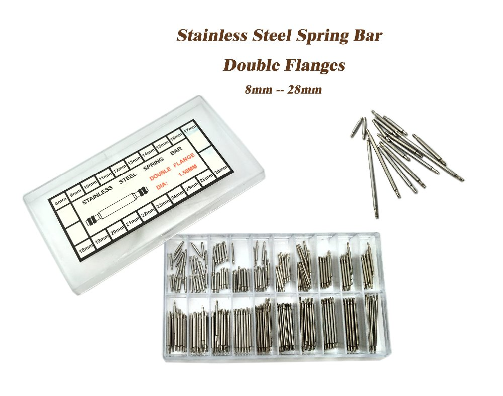 300 pcs Stainless Steel Double Flanges 8-28mm Watch Band Spring Bars Strap Link Pins Tool Deal for Watchmaker image