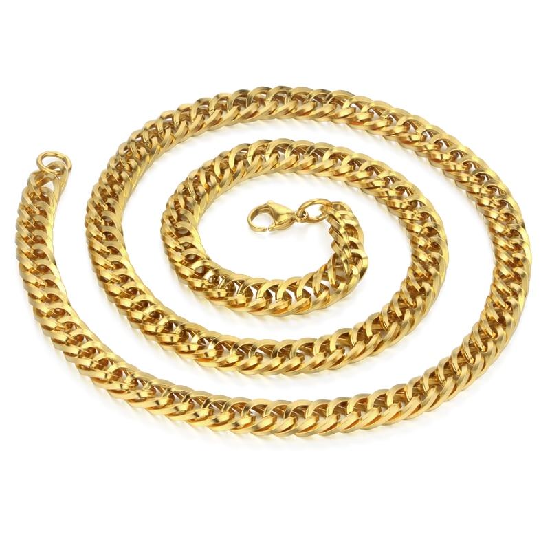 a70525bc6809 Cadenas Hip Hop para hombres Collares venta al por mayor de oro Color Rock  gran Acero inoxidable Miami Cuban cadena collar largo hombres joyería en  Collares ...
