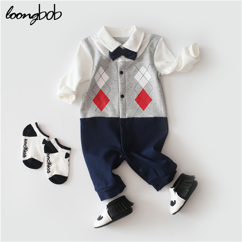 Baby Boys Clothes Long Sleeve Baby Rompers Newborn Cotton Gentleman Clothing Jumpsuit Infant Spring Summer Cute Clothing 2017 spring newborn rompers baby boys girls clothes long sleeve cute cartoon face cotton infant jumpsuit queen ropa bebes 0 24m