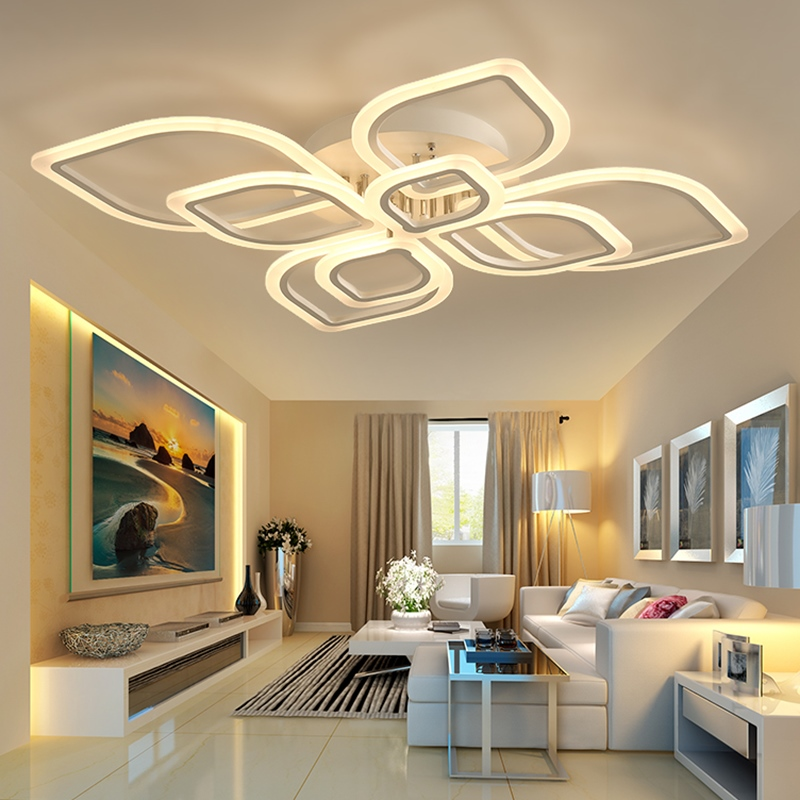modern led chandeliers for living room bedroom dining room acrylic Indoor home ceiling chandelier lamp lighting fixtures modern led ceiling chandeliers for living room bedroom square rectangle white black home dec modern led chandelier fixtures
