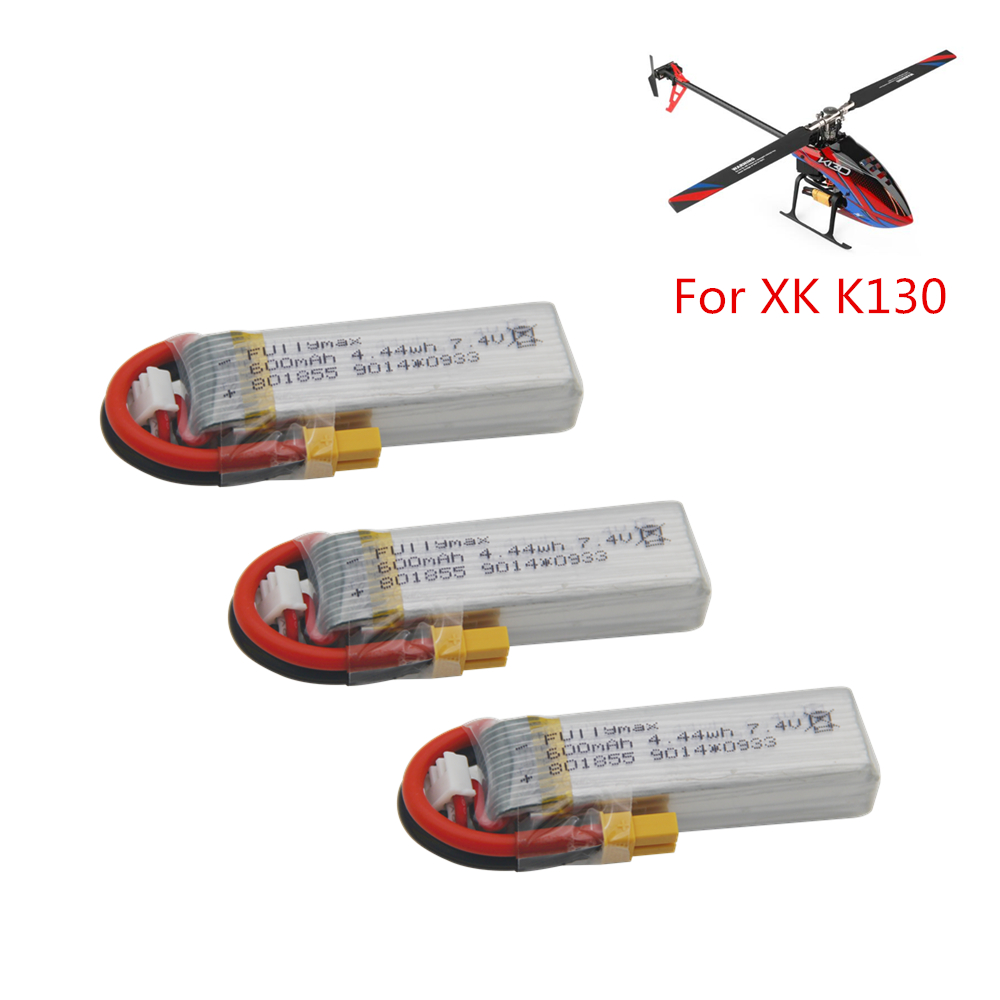 <font><b>7.4V</b></font> <font><b>600mAh</b></font> <font><b>Lipo</b></font> <font><b>Battery</b></font> For XK K130 RC Helicopter Spare Parts Accessories XK K130 <font><b>Battery</b></font> (In Stock ) image