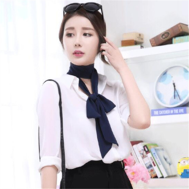 Women Skinny  Scarf Extra Long Slim Solid Ribbon Belt Thin Tie Neck AL