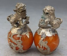 decoration white Copper silver factory A Pair Chinese Tibetan Silver Dragon Phoenix Artificial Amber Foo Fu Dog Lion Statues