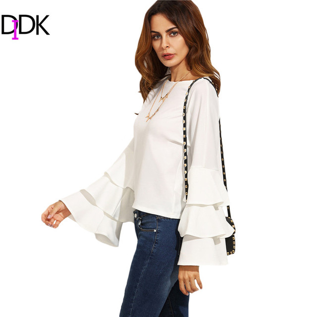 DIDK Ladies Tops and Blouses For Woman Autumn New Arrival Ladies Plain White Round Neck Ruffle Long Flare Sleeve Blouse