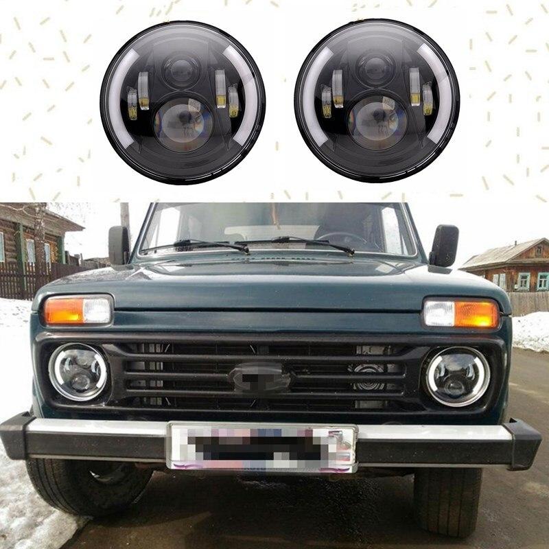 2 pcs noir 7 pouce Ronde H/Bas lm LED Phare Pour Lada 4x4 urbain Niva Pour jeep WranglerJK LJ TJ Camion 4x4 Hors route Véhicule