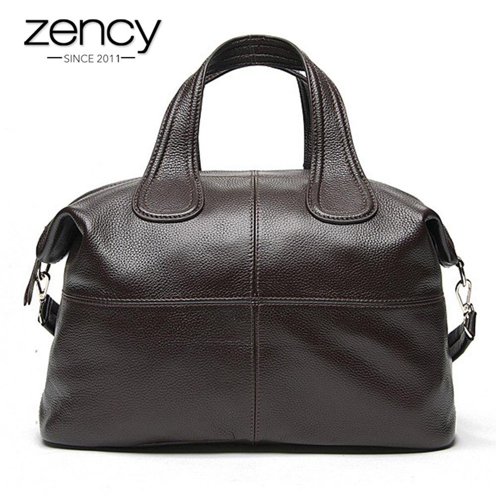 Zency 100% bolso de mano de cuero genuino para mujer café señoras bolso de mano clásico negro bandolera bolso de hombro Boston-in Bolsos bandolera from Maletas y bolsas    1