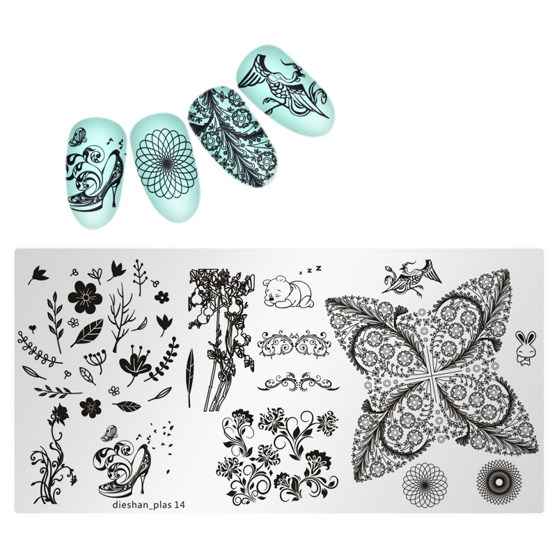 1pc Nail StampingTemplate Plates Dress Girl High hee Rectangle Nail Art Stamp Plate Manicure Stencils Tool Dieshan 01 24 Styles in Nail Art Templates from Beauty Health