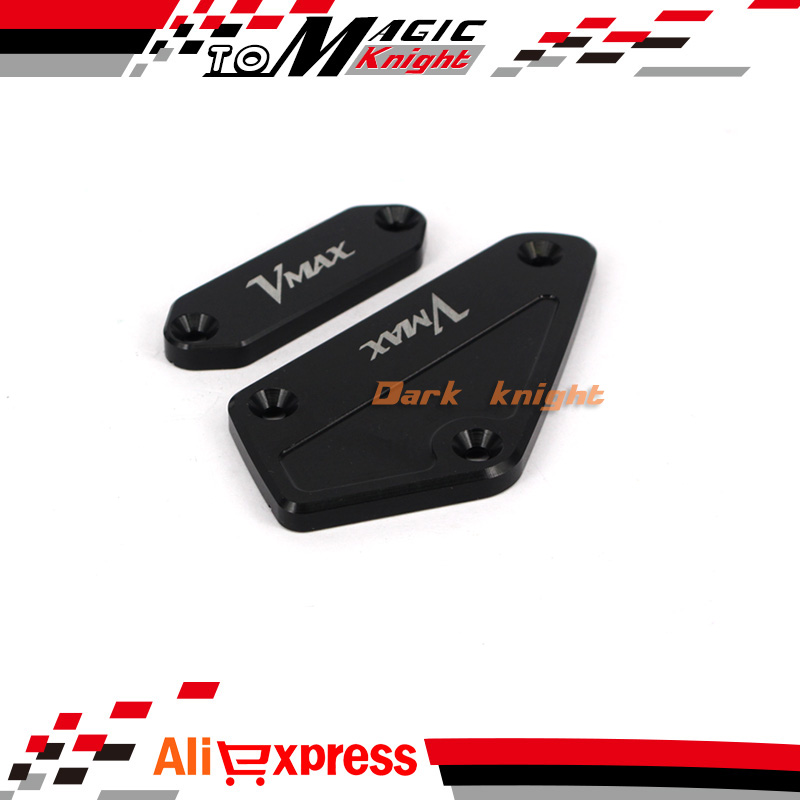 For YAMAHA V-MAX VMAX 1700 2009-2015 Black Motorcycle CNC Front Brake Clutch Master Cylinder Fluid Reservoir Cover Cap aftermarket free shipping motorcycle parts billet fluid reservoir cap for yama v max vmax 1200 carbon 1985 2007 black