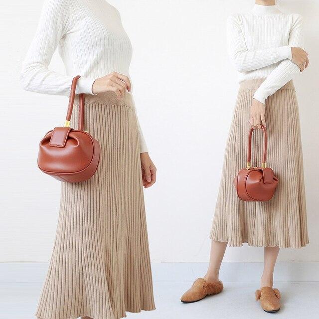 Burminsa Women Genuine Leather Hobos Bags Small Tote Bags Girls Elegant Handbags Designer Brand High Quality Ladies Evening Bags 3