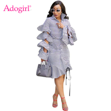 купить Adogirl Layered Ruffle Long Sleeve Stripe Shirt Dress Turn Down Collar Hollow Out Drawstring Hem Midi Club Party Dress Outfits онлайн