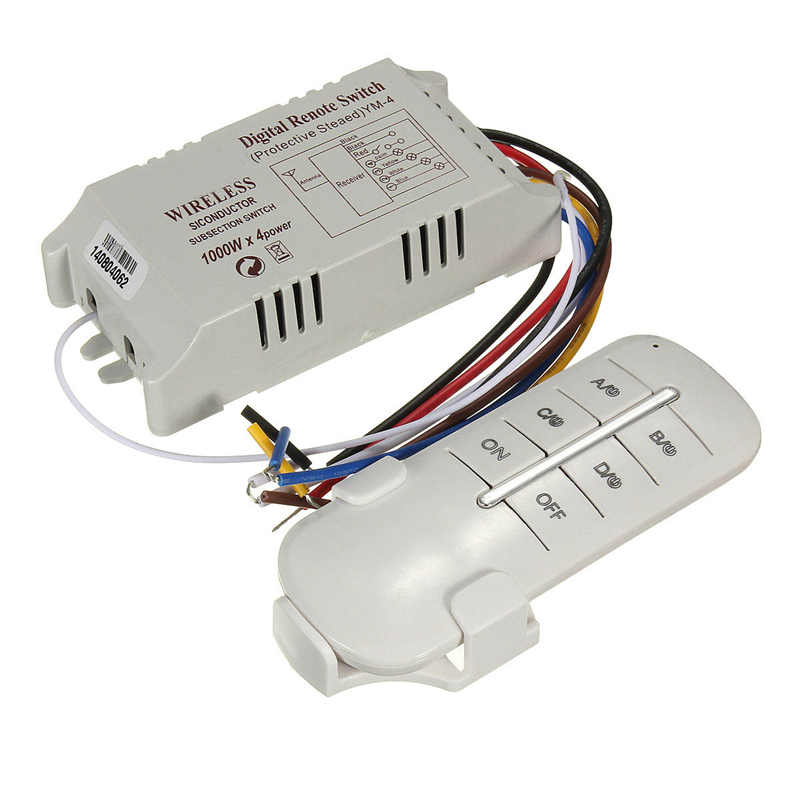 Wireless 4 Channels ON OFF 220V Lamp Remote Control Switch Receiver Transmitter Used in Household Stairs