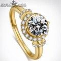 Jewellwang Moissanites Каменные Кольца для Женщин Оригинальный Дизайн Покер 0.5ct Обручальное Кольцо CertifiedJk/ввс Классический 18 К Желтое Золото